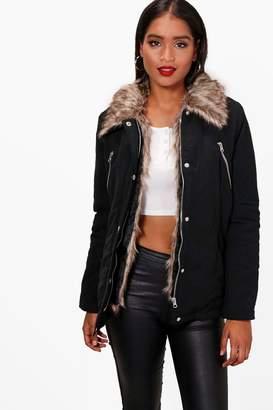boohoo Holly Detachable Faux Fur Trim Parka