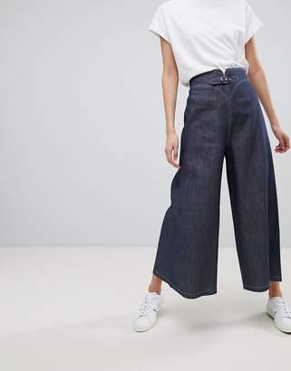 Emporio Armani (エンポリオ アルマーニ) - Emporio Armani Contrast Stitch Buckle Front Wide Leg Jeans