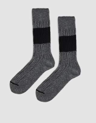 Anonymous Ism Wool Cable Crew Sock