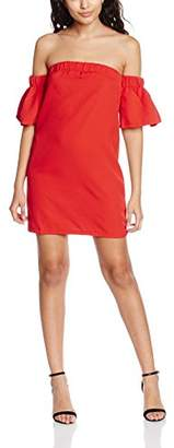 boohoo Women's Govanna Off Shoulder Flute Strapless 3/4 Sleeve Dress,8