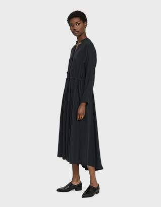Black Crane Classy Linen Dress in Dark Green