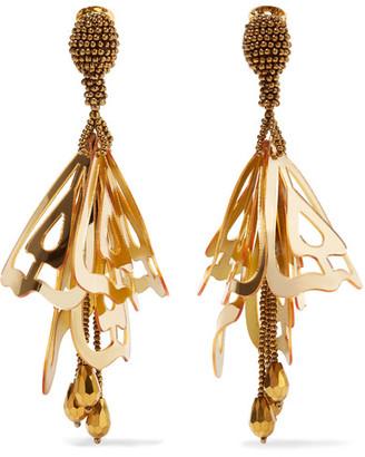 Oscar de la Renta - Large Impatiens Gold-tone Resin Clip Earrings $490 thestylecure.com