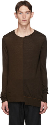 Ziggy Chen Brown and Black Striped Cashmere Sweater