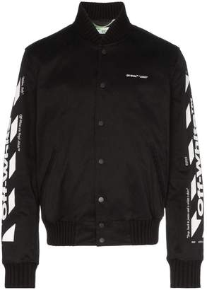 Off-White striped sleeve logo print bomber jacket