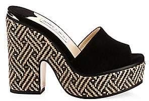 Jimmy Choo Women's Deedee Suede Woven Cork Platform Sandals