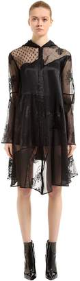 McQ Hooded Patchwork Lace & Tulle Coat
