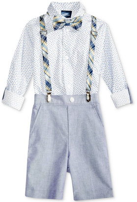 Nautica 4-Pc. Printed Shirt, Plaid Bow Tie and Suspenders, Chambray Short Set, Toddler & Little Boys (2-7) $50 thestylecure.com