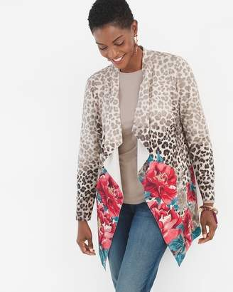 Chico's Chicos Printed Sueded Drape Jacket