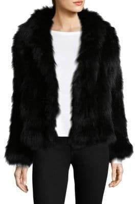Adrienne Landau Knit Dyed Fox Fur Hooded Jacket