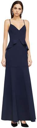 BCBGMAXAZRIA Sleeveless Ruffled Peplum Gown