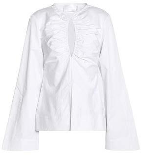 SOLACE London Musette Ruched Cutout Cotton-Canvas Top