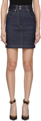 Versace Indigo Western Raw Denim Miniskirt