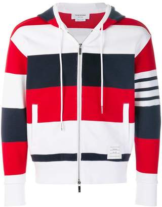 Thom Browne Engineered Rugby Stripe Drop-Shoulder Zip-Up Jersey Hoodie