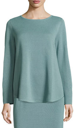 Eileen Fisher Long-Sleeve Silk/Cotton Interlock Boxy Top $278 thestylecure.com