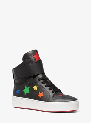 MICHAEL Michael Kors Trent Star-Cutout Leather High-Top Sneaker