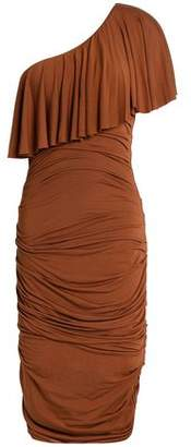 Bailey 44 One-Shoulder Layered Ruched Stretch-Modal Dress