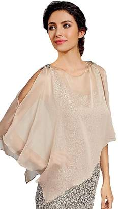 Rong store Light Weight Chiffon Solid Color Evening Wrap Top XL