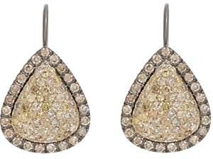 Roberto Marroni Women's Yellow Diamond, Brown Diamond & Oxidized Gold Teardrop Earrings