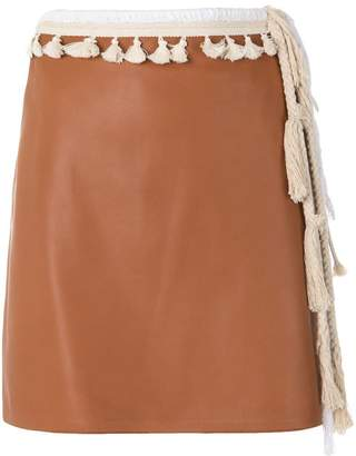 Loewe tasselled straight mini skirt