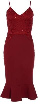 Quiz Berry Sequin Lace Frill Midi Dress