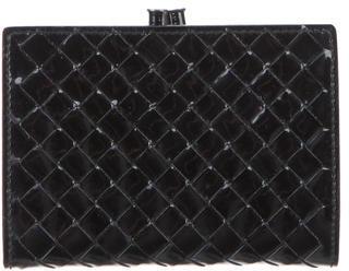 Bottega VenetaBottega Veneta Patent Intrecciato Leather Card Holder
