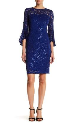 Marina Sequin Lace Bell Sleeve Dress $149 thestylecure.com