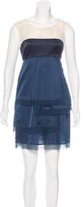 Lela Rose Crochet-Trimmed Sleeveless Dress