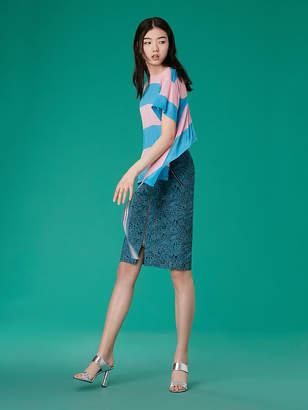 Diane von Furstenberg Short-Sleeve Back Ruffle Tee