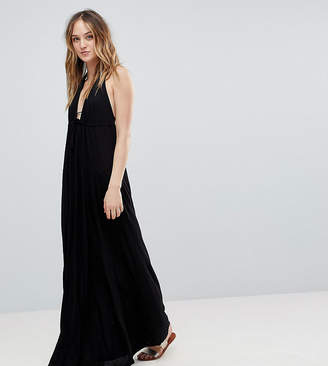 Asos Tall DESIGN Tall Tie Front Plunge Jersey Maxi Beach Dress