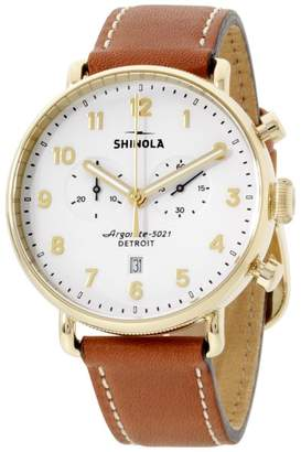 Shinola The Canfield 20044134 Gold Tone Stainless Steel & Leather Quartz 43mm Mens Watch