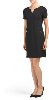 Made In Italy Crepe Dress With Zippers