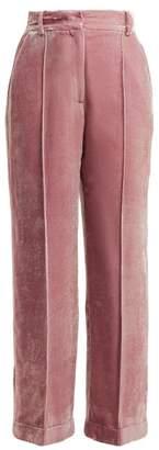 Racil Charlie High Rise Velvet Trousers - Womens - Light Pink