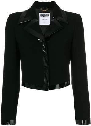 Moschino patent trim fitted jacket