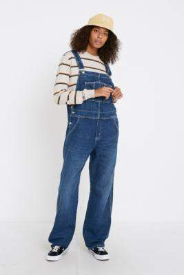 Carhartt WIP Straight Leg Denim Dungarees - blue XS at Urban Outfitters