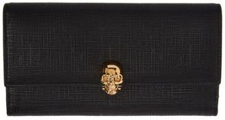 Alexander McQueen Black Lino Skull Continental Flap Wallet $645 thestylecure.com