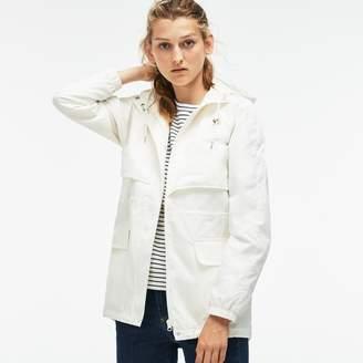 Lacoste Women's Hooded Long Cotton Twill Windbreaker