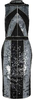 L'Agence Bead-embellished Sequined Tulle Dress