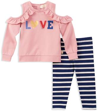Kate Spade Girls' French Terry Cold-Shoulder Love Sweatshirt & Striped Leggings Set
