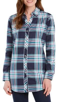 Foxcroft Faith Fall Tartan Plaid Cotton Blend Shirt