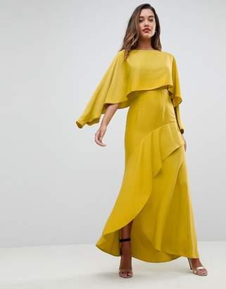 Asos Design Long Sleeve Crop Top Satin Maxi Dress with Kimono Split Skirt