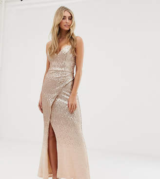 9b78cd47d1d Bariano embellished ombre sequin strappy back maxi dress in gold