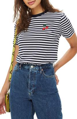 Topshop by Tee & Cake Cherry Stripe Tee