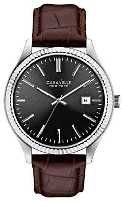 CARAVELLE NEW YORK Analog Textured Bezel Stainless Steel Leather Strap Watch