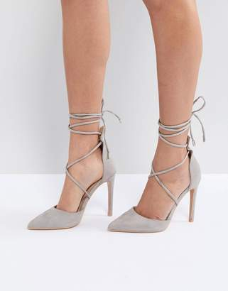 Public Desire Aries Gray Tie Up Pumps