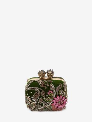 "Alexander McQueen Embroidered ""Queen And King"" Skeleton Box Clutch"