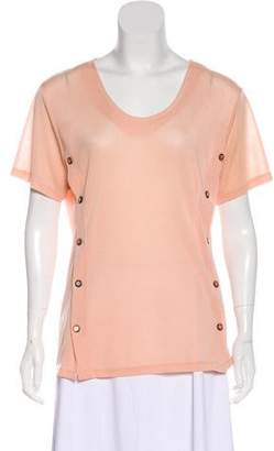 Pierre Balmain Short Sleeve V-Neck Top