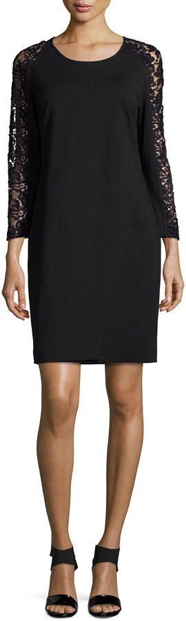 Magaschoni Lace-Sleeve Sheath Dress - ShopStyle.co.uk Women