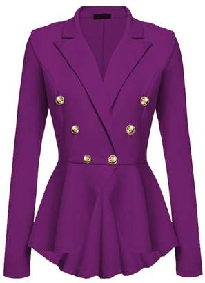 Lettre d'amour Women Double Breasted Suit Collar Blazer Jacket Outerwear Tops L