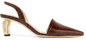 REJINA PYO Conie Croc-effect Leather Slingback Pumps