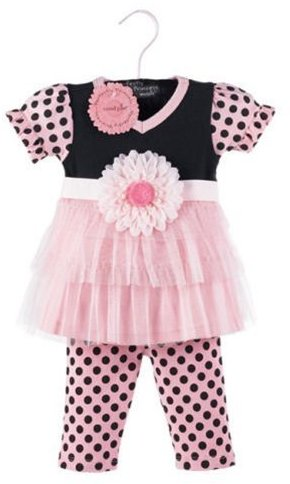 Mud Pie Baby Tunic and Leggings Set, Pink/Black, 12 - 18 Months